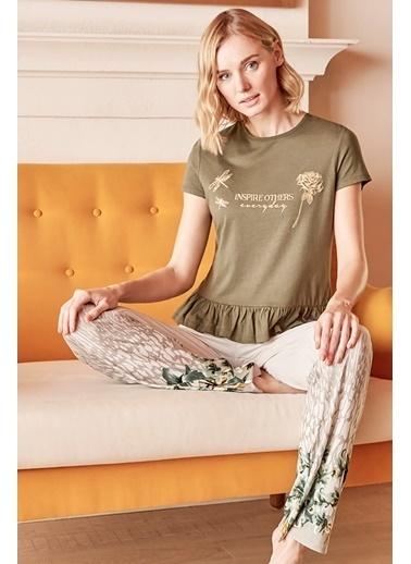 Anıl Kadın Pijama Pamuklu Çiçek Baskılı Tshirt Pantolon Haki